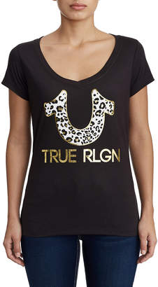 True Religion WOMENS LEOPARD PRINT GRAPHIC TEE