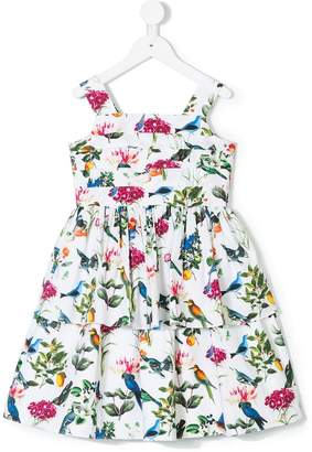 Oscar de la Renta Kids Botanical birds pleated dress
