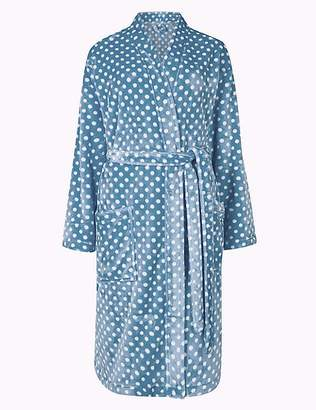 Marks and Spencer Supersoft Spotted Long Sleeve Dressing Gown