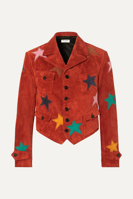 Saint Laurent Appliquéd Suede Jacket - Red