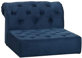 Pottery Barn Teen Cushy Roll Arm Lounge Armless Chair, Navy Faux-Suede, IDS