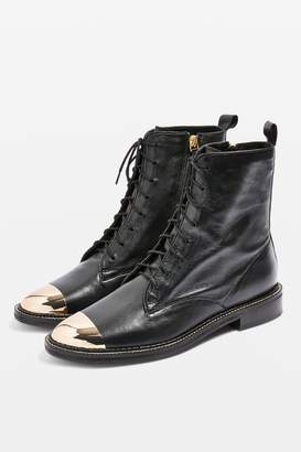Topshop AXEL Lace Up Crocodile Boots