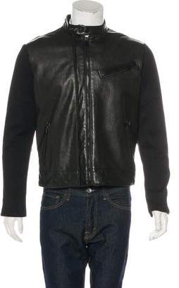 Ralph Lauren Black Label Wool-Trimmed Leather Jacket