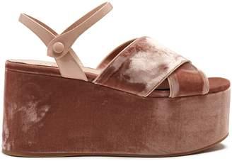 Miu Miu Crossover velvet flatform sandals