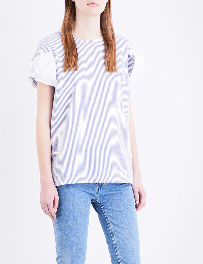 Clu Clu Bow-detail cotton top