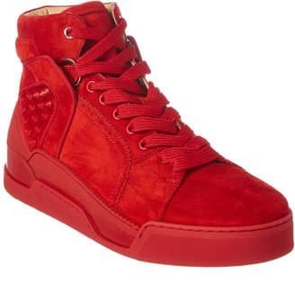 Christian Louboutin Loubikick Suede High-Top Sneaker