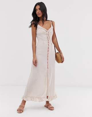 Lost Ink cami maxi dress with contrast button front