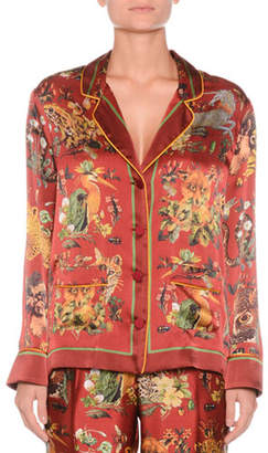 F.R.S For Restless Sleepers Button-Front Long-Sleeve Animal-Print Needlepoint Silk Shirt