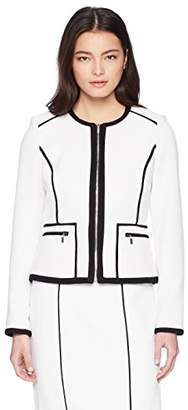Calvin Klein Women's Petite Knit Zipper Front Piped Jacket