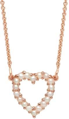 Lola Rose London - Heart Mini Charm Necklace White Pearl