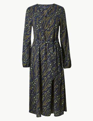 Marks and Spencer Printed Long Sleeve Waisted Midi Dress