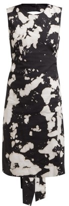 No.21 No. 21 - Tie Dye Open Back Cotton Blend Dress - Womens - Black Print