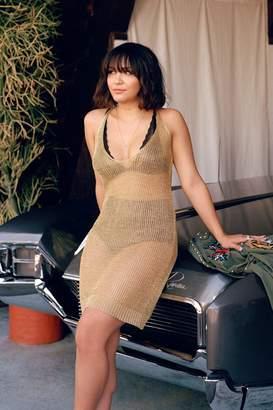 boohoo Julia Strap Detail Metallic Knit Dress