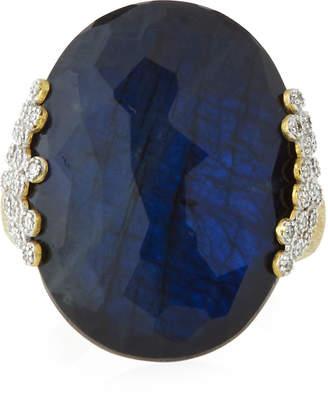 Jude Frances 18K Provence Labradorite/Onyx Oval Ring, Size 6.5