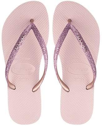 Havaianas Womens Rose Slim Glitter Sandals - Pink
