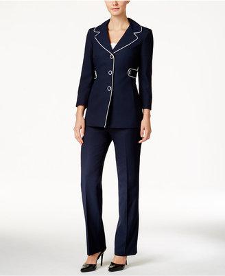 Le Suit Piped-Trim Pantsuit $200 thestylecure.com