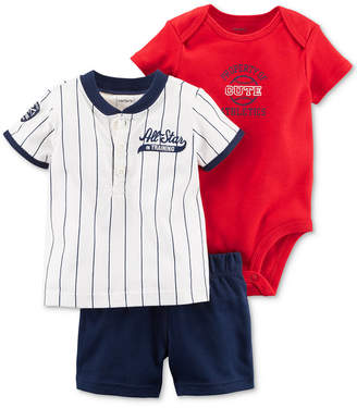 Carter's 3-Pc. Cotton Baseball Shirt, Bodysuit & Shorts Set, Baby Boys