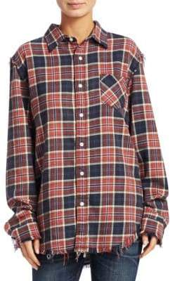 R 13 Shredded Seam Plaid Shirt