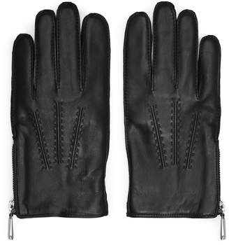 Reiss Rothdale - Leather Zip Detail Gloves in Black