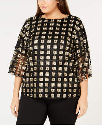 Calvin Klein Plus Size Embroidered Mesh Top