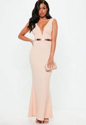 Missguided Pink V Plunge Maxi Dress