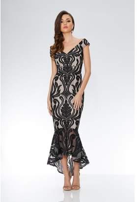 Quiz Black And Stone Lace Bardot Dip Hem Dress