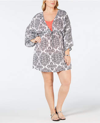 Dotti Plus Size Positano Printed Tunic Cover-Up Women's Swimsuit