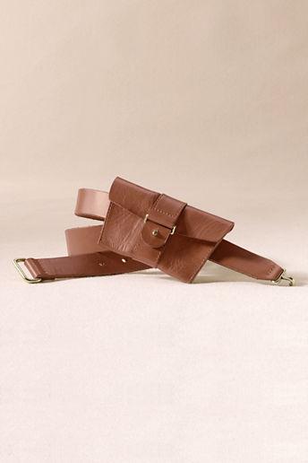 Lands' End Canvas Women's Leather Pouch Belt