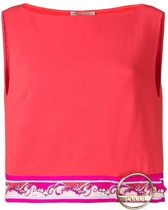 Emilio Pucci Red Contrast Hemline Cropped Top