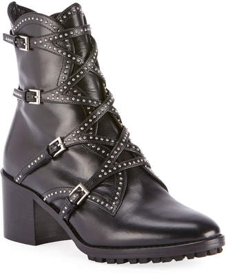 Alaia Studded Wrap Buckle Booties