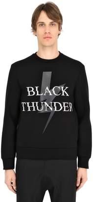 Neil Barrett Thunder Bolt Printed Neoprene Sweatshirt