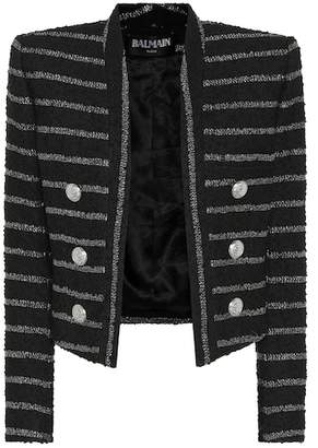 Balmain Metallic striped tweed jacket
