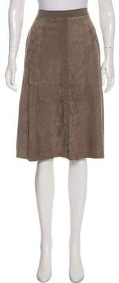Halston Suede Knee-Length Skirt