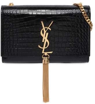 Saint Laurent Small Kate Monogram Croc Embossed Bag