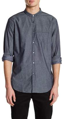 John Varvatos Collection Slim Fit Collarless Mesh Design Dress Shirt