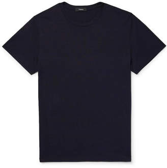 Theory Claey Slim-Fit Silk and Cotton-Blend Jersey T-Shirt - Midnight blue