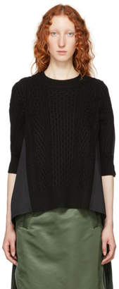 Sacai Black Wool and Cotton Poplin Sweater