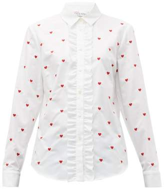 RED Valentino Heart Embroidered Cotton Oxford Shirt - Womens - White Multi