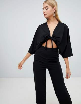 db82205ccd52 PrettyLittleThing Crepe Batwing Cut Out Jumpsuit