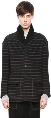 Damir Doma Scarf Collar Striped Wool Cotton Jacket