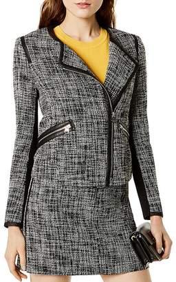 Karen Millen Faux-Leather Trim Tweed Jacket
