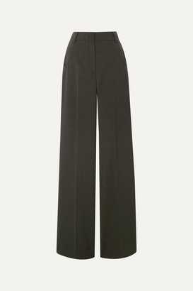 Akris Floyd Wool-twill Wide-leg Pants - Army green