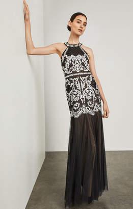 BCBGMAXAZRIA Embroidered Strappy Halter Gown