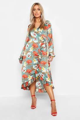 boohoo Plus Floral Satin Ruffle Wrap Dress