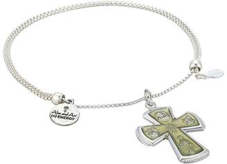 Alex and Ani Sacred Cross Precious Metal Finish Expandable Chain Bracelet w/ Silver Finish Filled Charm Bracelet