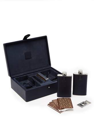 Dunhill Boston Flask And Playing Card Set - Mens - Dark Blue
