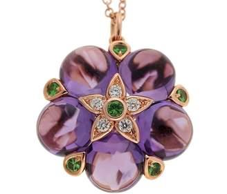 14K Rose Gold 10.22ct Purple Amethyst Cabochon Garnet Diamond Pendant Necklace
