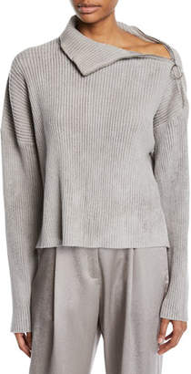 Sally LaPointe Zip-Shoulder Long-Sleeve Boxy Knit Sweater