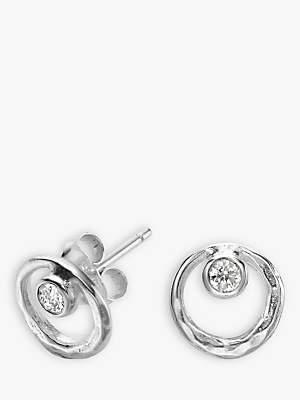 Dower & Hall Sterling Silver White Topaz Earrings, Silver