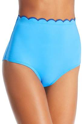 Kate Spade Contrast Scalloped High Waist Bikini Bottom